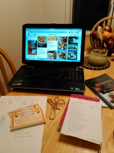 My kitchen table set-up: Pinterest, lists, recipes, schedules!
